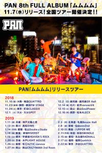 PAN(バンド)のアルバム「ムムムム」収録曲や歌詞!リリースツアーも3